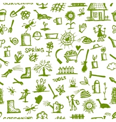 Garden tools sketch seamless pattern for your vector
