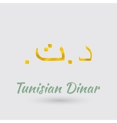 Golden Symbol of Tunisian Dinar vector image