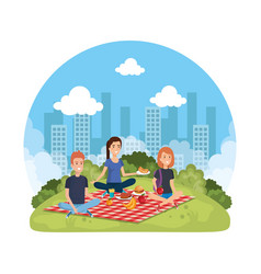 Group of people in picnic party vector