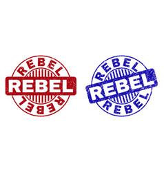 Grunge rebel textured round watermarks vector