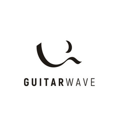 Guitar sea wave and crescent moon logo design vector