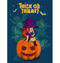 Halloween with witch on pumpkin lantern vector image