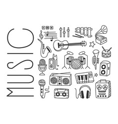 Hand drawn design of various musical vector