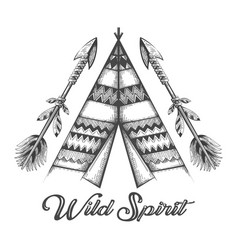 hand drawn wigwam and indian arrows with vector image