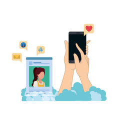 Hands with smarthphone and social network profile vector