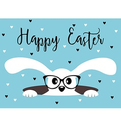 Happy Easter bunny with glasses Heart background vector