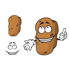 Happy goofy cartoon potato character vector image