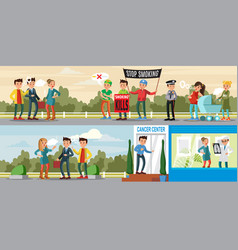 Harmful habit horizontal banners vector