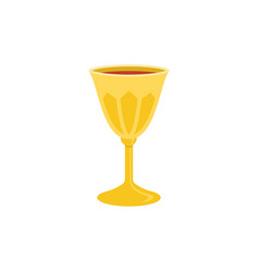Holy grail or chalice with red wine vector