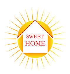 home with bright sun logo vector image