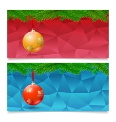 Horizontal Christmas banners Fir tree branches vector image