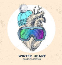 Human heart in winter hat and snowboard goggles vector