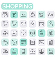 Inline shopping icons collection trendy linear vector