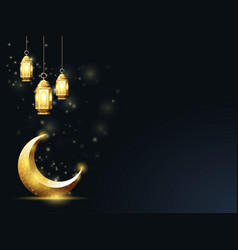 Islamic crescent and hanging down lanterns vector