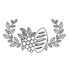 Isolated religion wreath grapes and bread design vector