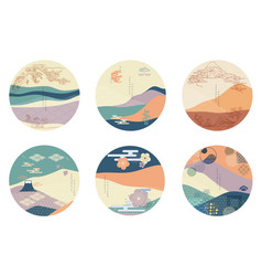 Japanese background in circle shape asian vector