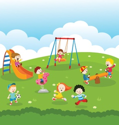 Kids At Park vector image