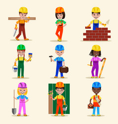 kids builders characters profession vector image