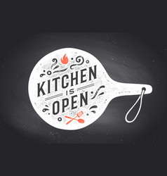 Kitchen open cutting board wall decor poster vector