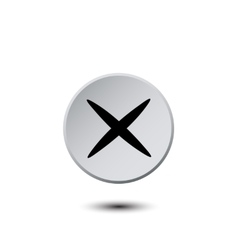 Light gray button with a black cross vector