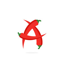 Logo red chili pepper letter a vector