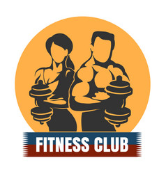 Man and woman fitness club logo design vector