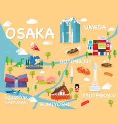 Map of osaka vector