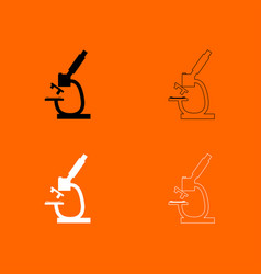 Microscope black and white set icon vector
