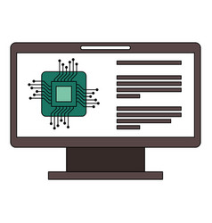 monitor computer with processor circuit vector image