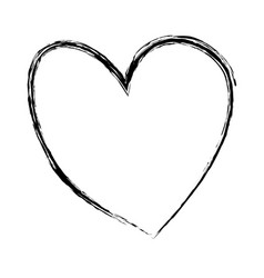 monochrome hand drawn sketch of heart vector image