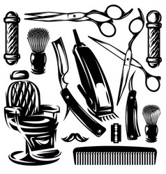 monochrome set accessories and tools in vector image