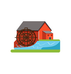 old water mill farm building countryside life vector image