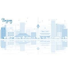 Outline beijing skyline with blue buildings vector