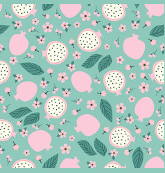 Pattern with pomegranate and fruit vector