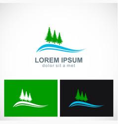 Pine tree landscape logo vector