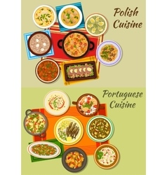 Portuguese and polish cuisine icon for food design vector