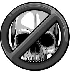 prohibited warning skull icon vector image