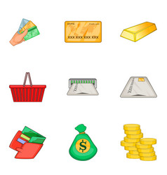 Richness icons set cartoon style vector