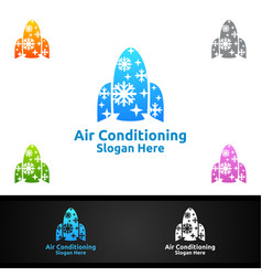 Rocket snow air conditioning and heating services vector