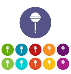 round lollipop icons set color vector image