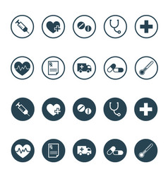 Round medical and pharmaceutical icon set vector