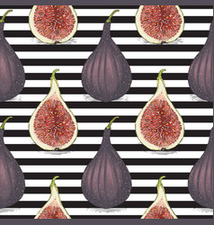Seamless pattern with ripe whole fig vector
