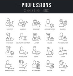 Set line icons professions vector