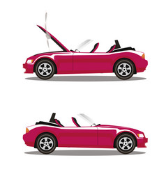 set of broken cartoon pink cabriolet sport car vector image