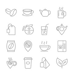 set of coffee and tea line icons contains vector image