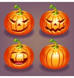 Set of Halloween pumpkin vector image