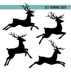 set silhouette running deer vector image