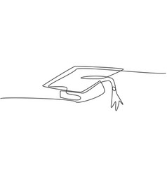 Single continuous line drawing gown graduation vector