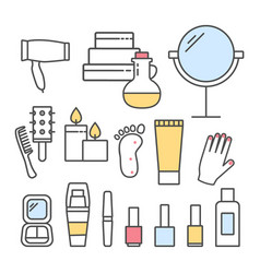 spa icons set line design vector image
