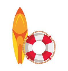 Surf board sport with float lifeguard vector